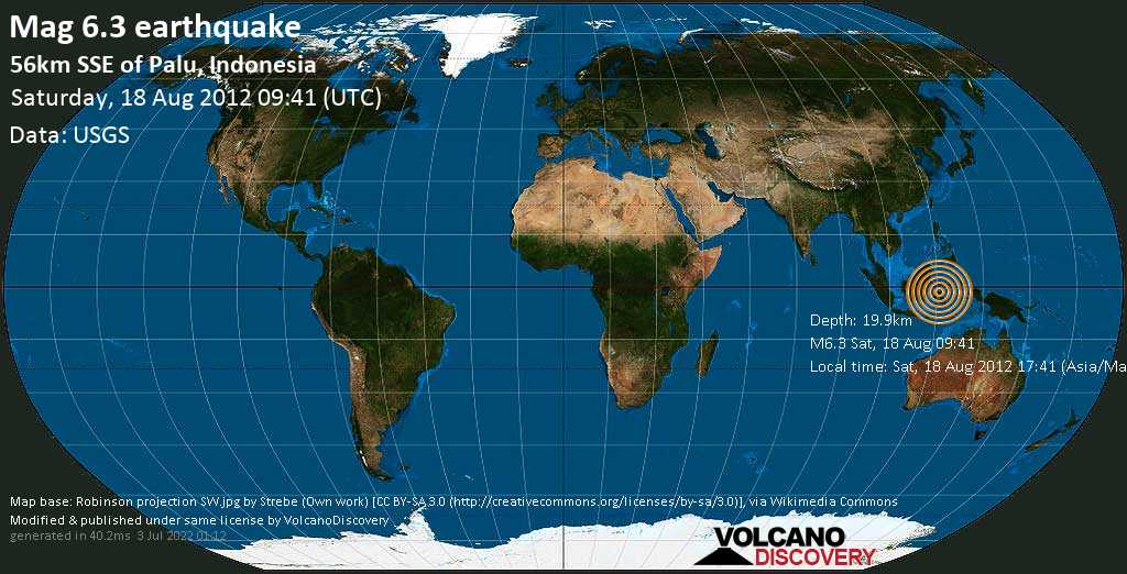 Strong mag. 6.3 earthquake  - 56km SSE of Palu, Indonesia on Saturday, 18 August 2012