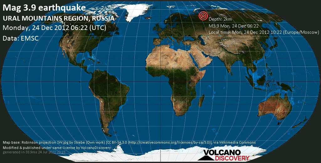 Minor mag. 3.9 earthquake  - URAL MOUNTAINS REGION, RUSSIA on Monday, 24 December 2012