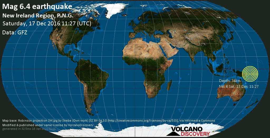 Strong mag. 6.4 earthquake  - New Ireland Region, P.N.G. on Saturday, 17 December 2016