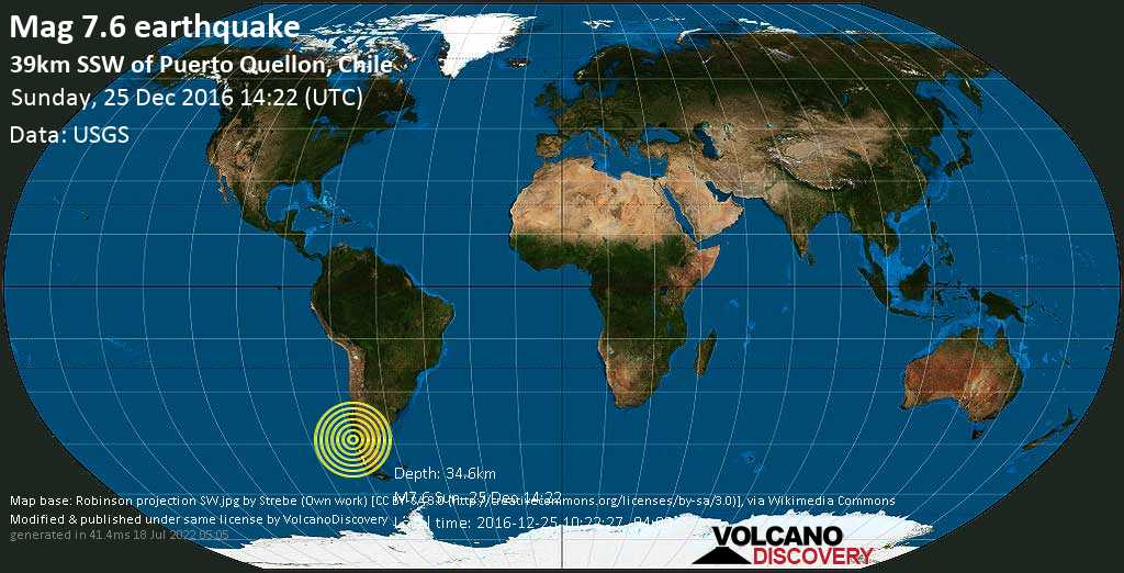 Major mag. 7.6 earthquake  - 39km SSW of Puerto Quellon, Chile on Sunday, 25 December 2016