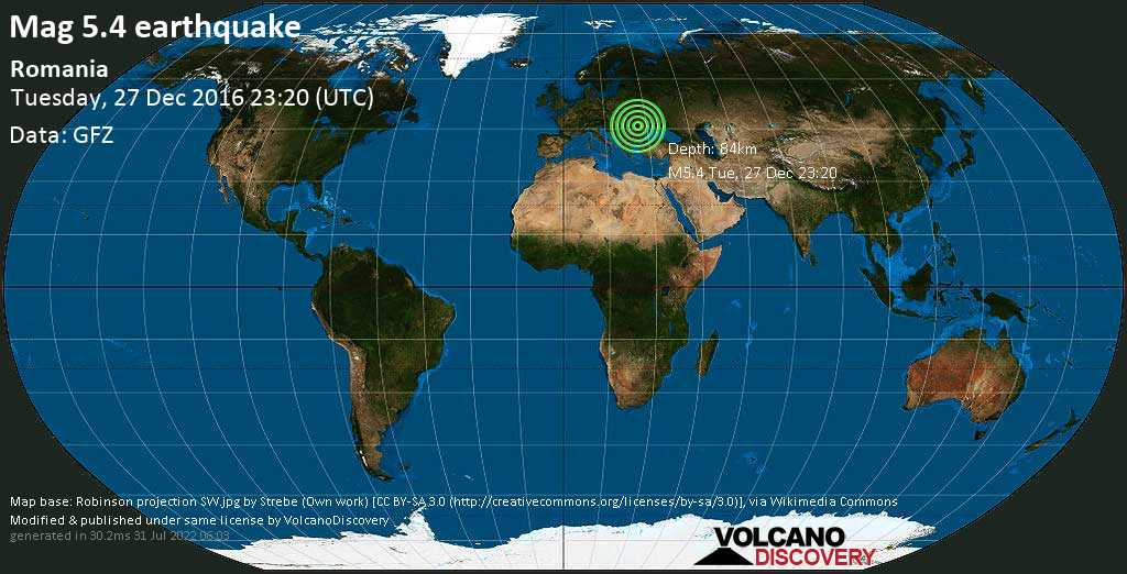 Moderate mag. 5.4 earthquake  - Romania on Tuesday, 27 December 2016