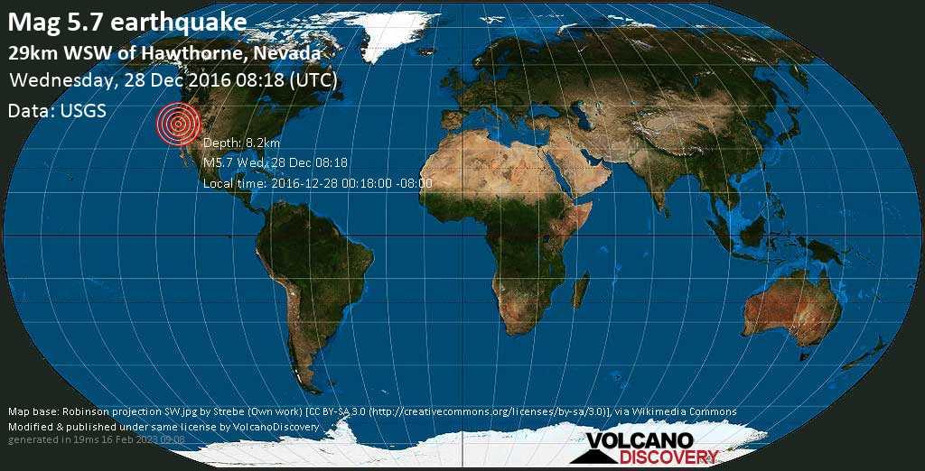 5.7 earthquake - 29km WSW of Hawthorne, Nevada on Wednesday, 28