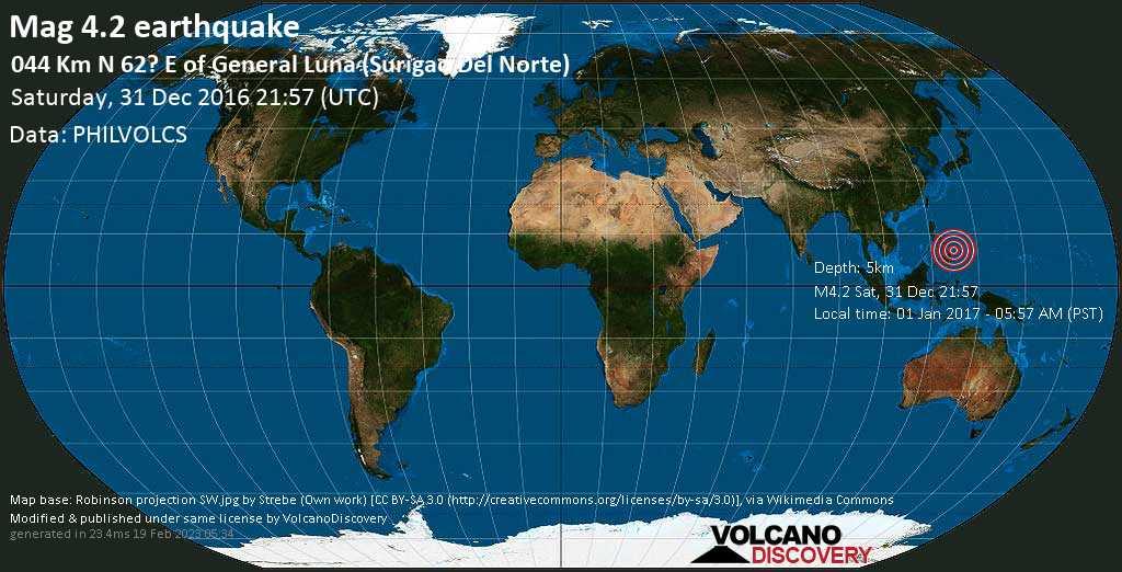 Light mag. 4.2 earthquake  - 044 km N 62? E of General Luna (Surigao del Norte) on Saturday, 31 December 2016
