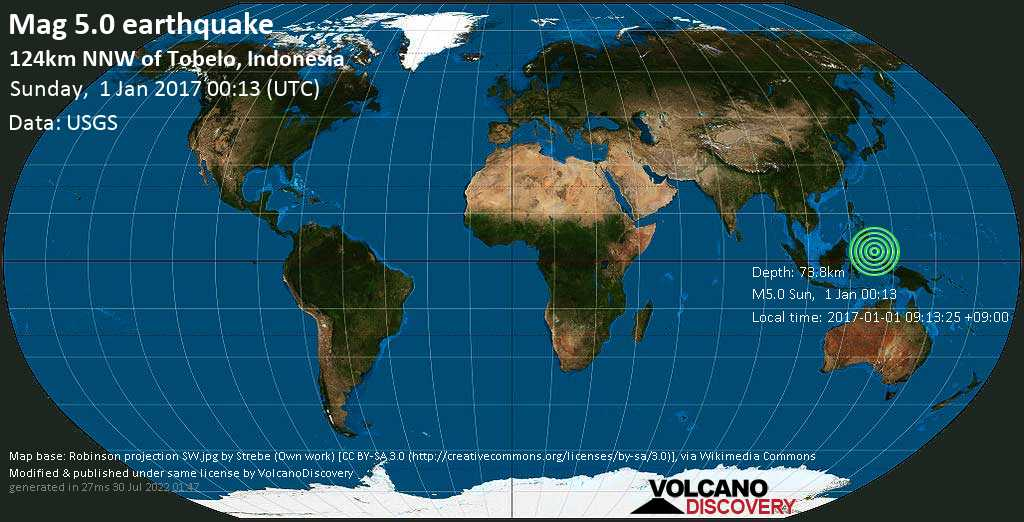 Moderate mag. 5.0 earthquake  - 124km NNW of Tobelo, Indonesia on Sunday, 1 January 2017