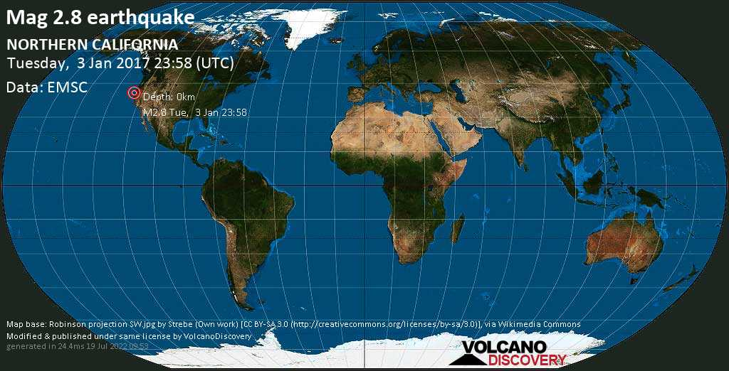 Minor mag. 2.8 earthquake  - NORTHERN CALIFORNIA on Tuesday, 3 January 2017