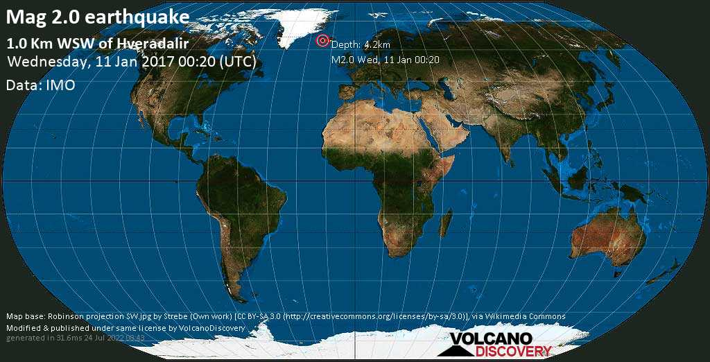 Minor mag. 2.0 earthquake  - 1.0 km WSW of Hveradalir on Wednesday, 11 January 2017