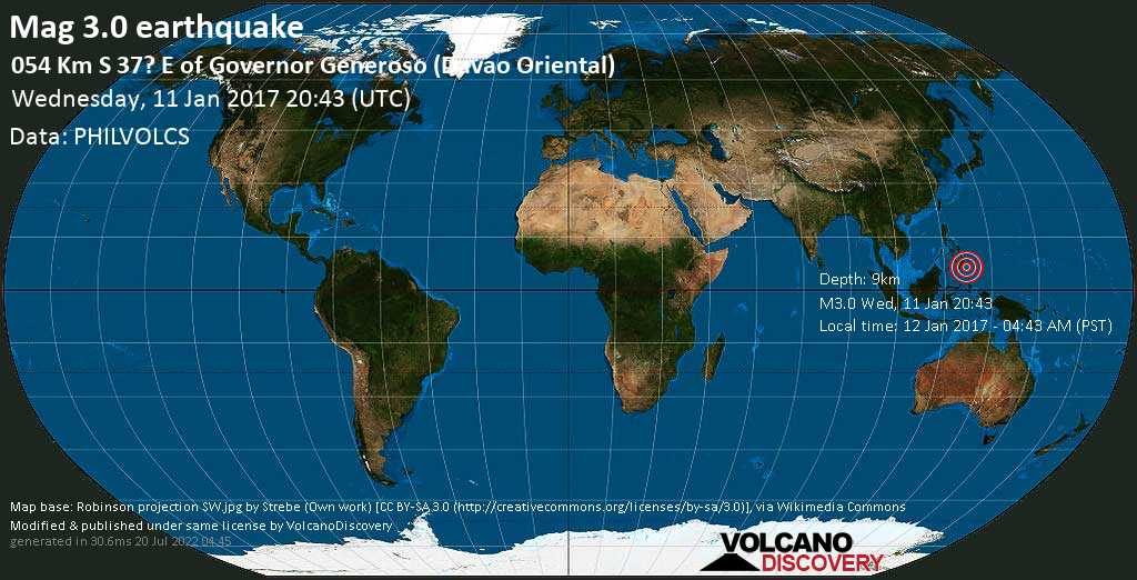 Minor mag. 3.0 earthquake  - 054 km S 37? E of Governor Generoso (Davao Oriental) on Wednesday, 11 January 2017
