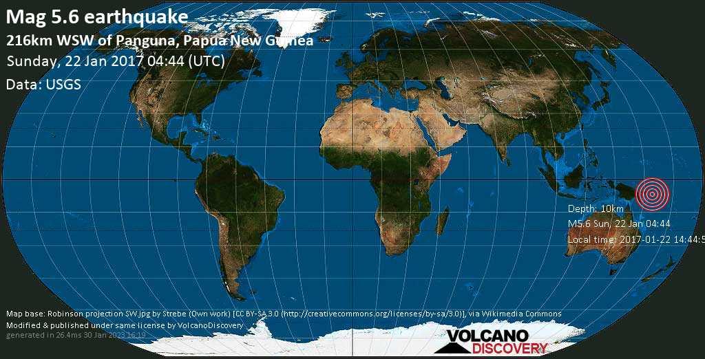 Moderate mag. 5.6 earthquake  - 216km WSW of Panguna, Papua New Guinea on Sunday, 22 January 2017