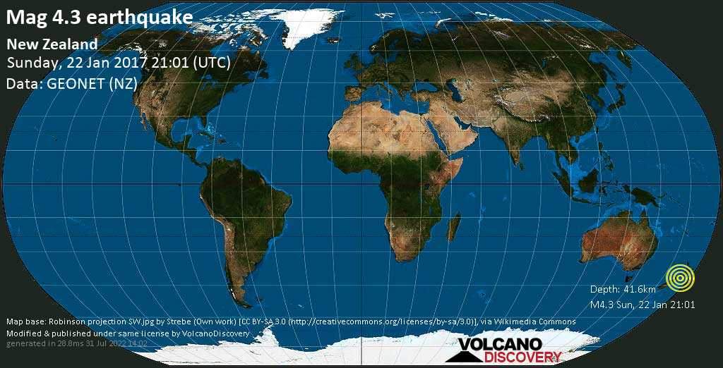 Light mag. 4.3 earthquake  - New Zealand on Sunday, 22 January 2017