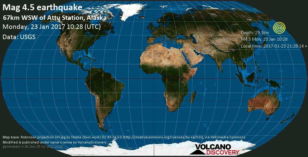 Light mag. 4.5 earthquake  - 67km WSW of Attu Station, Alaska on Monday, 23 January 2017