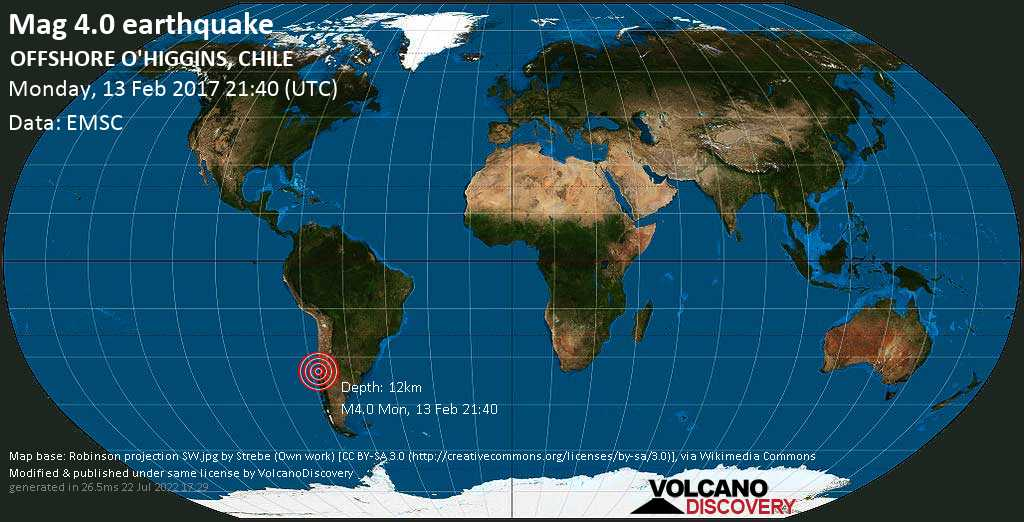 Light mag. 4.0 earthquake  - OFFSHORE O\'HIGGINS, CHILE on Monday, 13 February 2017