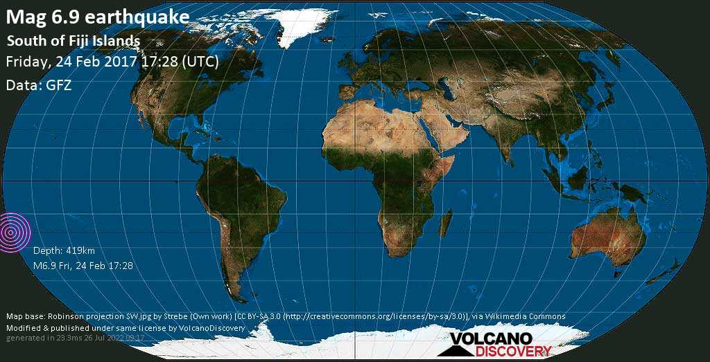 Strong mag. 6.9 earthquake  - South of Fiji Islands on Friday, 24 February 2017
