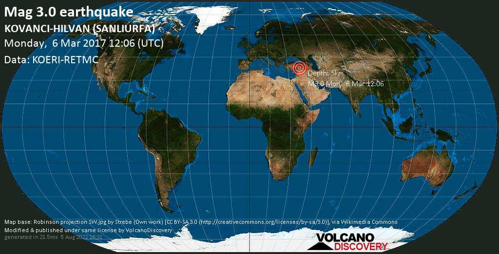 Minor mag. 3.0 earthquake  - KOVANCI-HILVAN (SANLIURFA) on Monday, 6 March 2017
