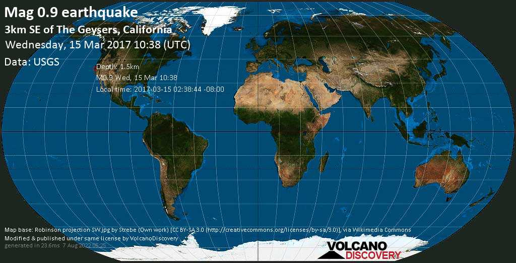 Minor mag. 0.9 earthquake  - 3km SE of The Geysers, California on Wednesday, 15 March 2017