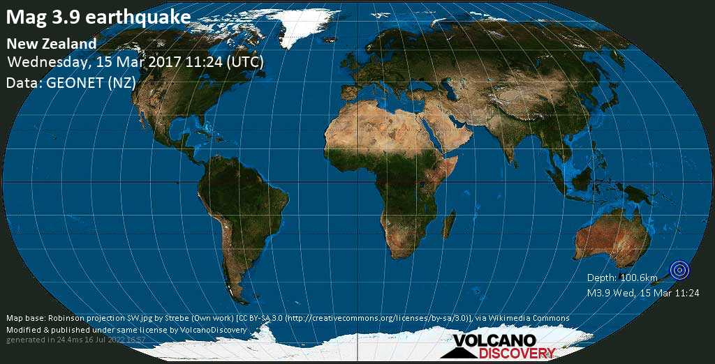 Minor mag. 3.9 earthquake  - New Zealand on Wednesday, 15 March 2017
