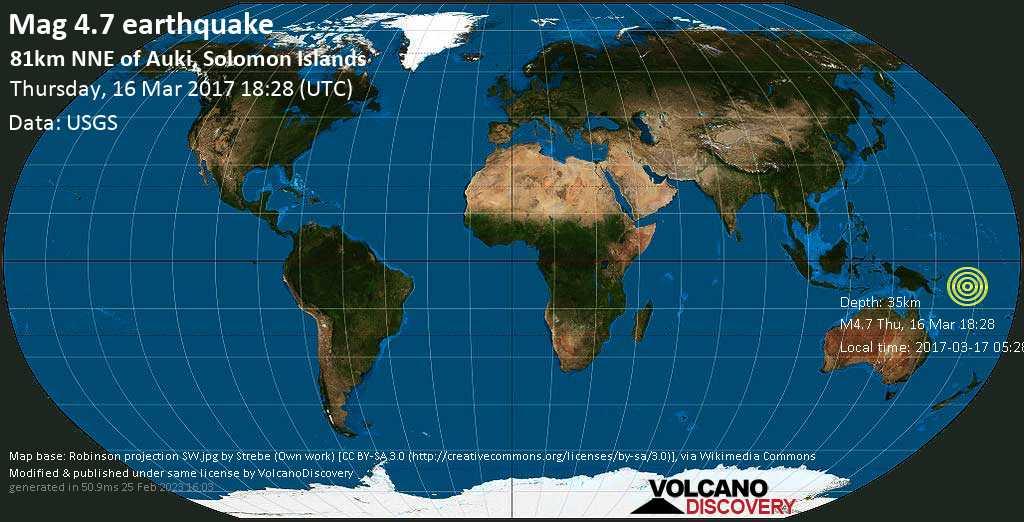 Light mag. 4.7 earthquake  - 81km NNE of Auki, Solomon Islands on Thursday, 16 March 2017