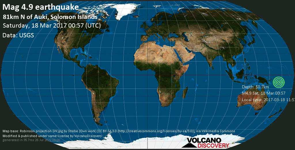 Light mag. 4.9 earthquake  - 81km N of Auki, Solomon Islands on Saturday, 18 March 2017