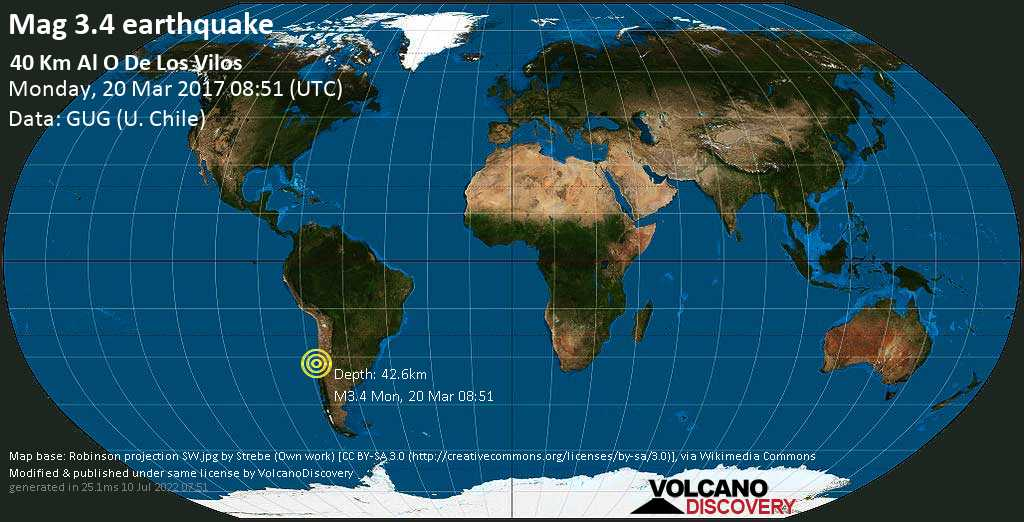 Minor mag. 3.4 earthquake  - 40 km al O de Los Vilos on Monday, 20 March 2017