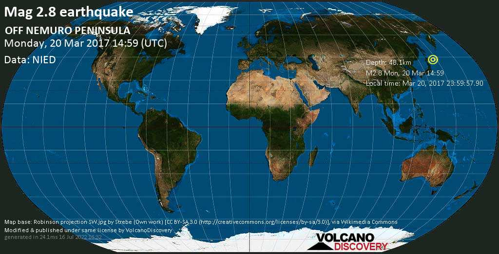 Minor mag. 2.8 earthquake  - OFF NEMURO PENINSULA on Monday, 20 March 2017