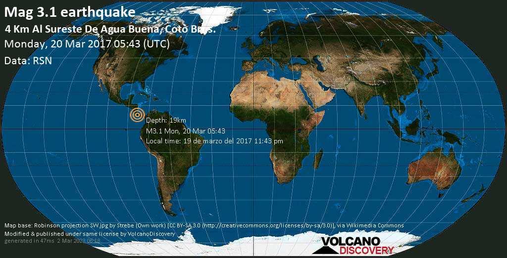 Minor mag. 3.1 earthquake  - 4 km al Sureste de Agua Buena, Coto Brus. on Monday, 20 March 2017
