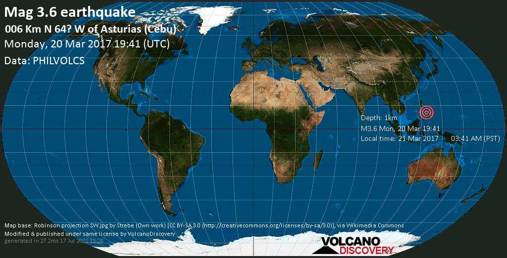 Minor mag. 3.6 earthquake  - 006 km N 64? W of Asturias (Cebu) on Monday, 20 March 2017