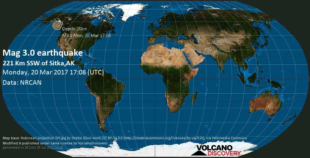 Minor mag. 3.0 earthquake  - 221 km SSW of Sitka,AK on Monday, 20 March 2017