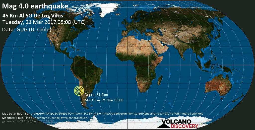Light mag. 4.0 earthquake  - 45 km al SO de Los Vilos on Tuesday, 21 March 2017