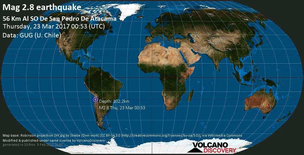 Minor mag. 2.8 earthquake  - 56 km al SO de San Pedro de Atacama on Thursday, 23 March 2017