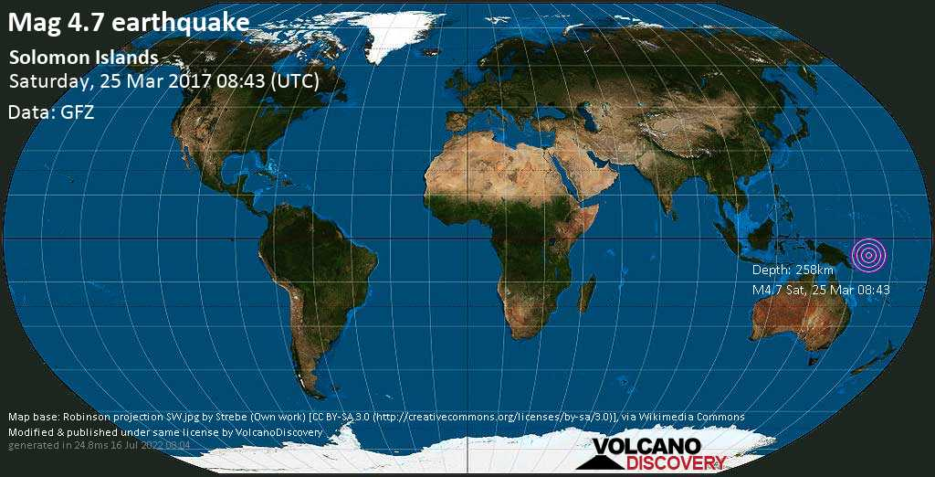 Light mag. 4.7 earthquake  - Solomon Islands on Saturday, 25 March 2017