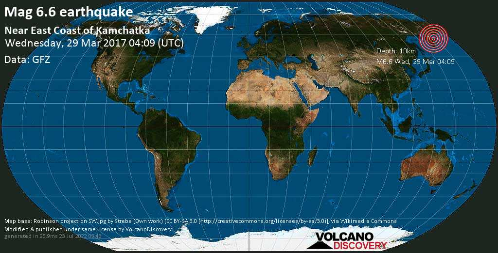 Strong mag. 6.6 earthquake  - Near East Coast of Kamchatka on Wednesday, 29 March 2017