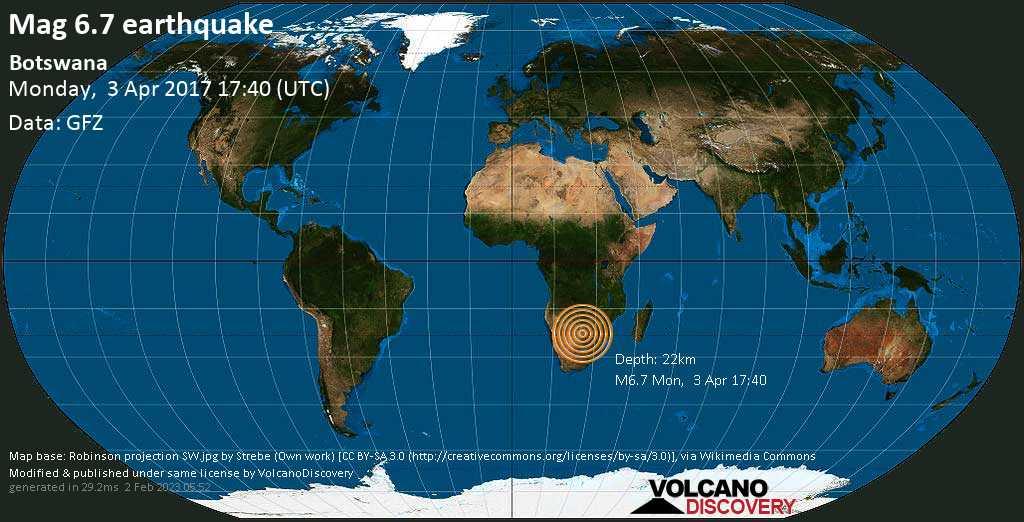 Strong mag. 6.7 earthquake  - Botswana on Monday, 3 April 2017