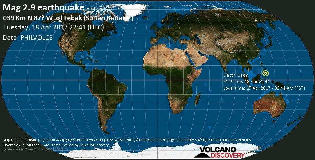 Minor mag. 2.9 earthquake  - 039  km N 87? W    of Lebak (Sultan Kudarat) on Tuesday, 18 April 2017