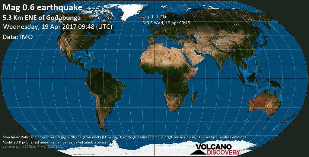 Minor mag. 0.6 earthquake  - 5.3 km ENE of Goðabunga on Wednesday, 19 April 2017