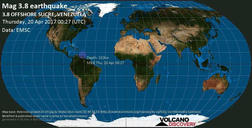 Minor mag. 3.8 earthquake  - 3.8  OFFSHORE SUCRE, VENEZUELA on Thursday, 20 April 2017