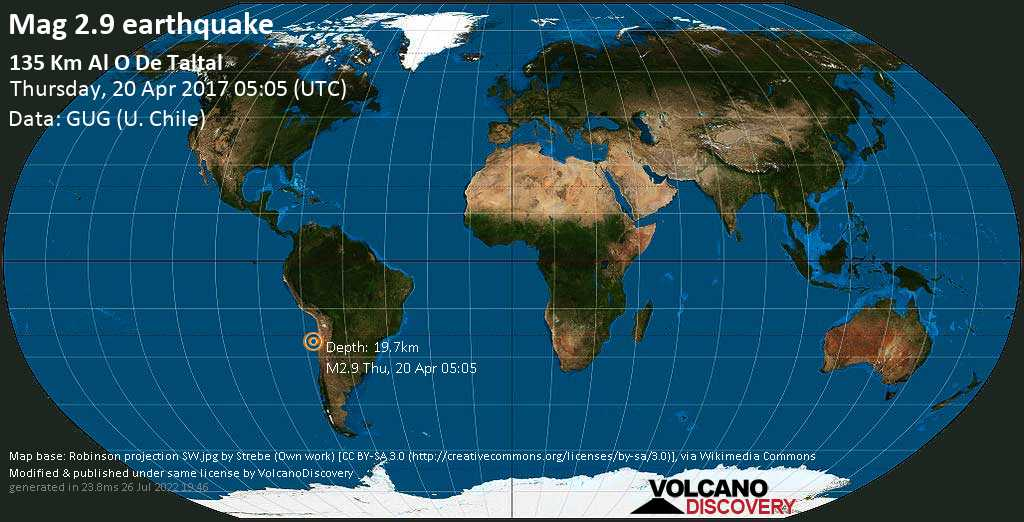 Minor mag. 2.9 earthquake  - 135 km al O de Taltal on Thursday, 20 April 2017