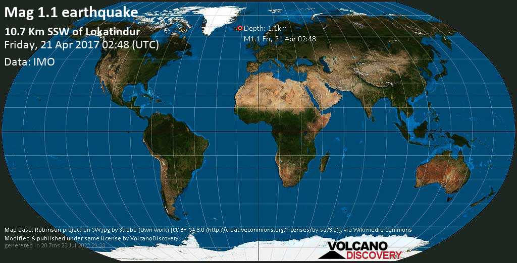 Minor mag. 1.1 earthquake  - 10.7 km SSW of Lokatindur on Friday, 21 April 2017