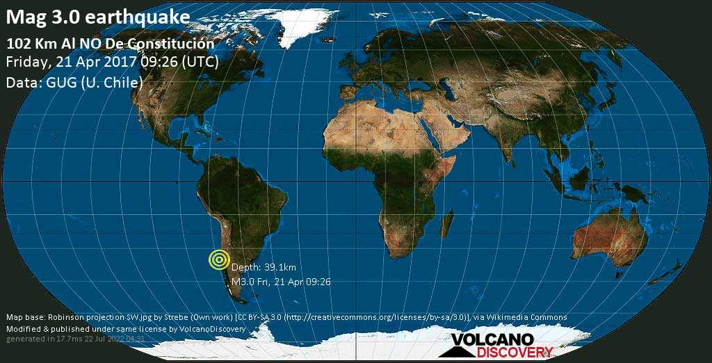 Minor mag. 3.0 earthquake  - 102 km al NO de Constitución on Friday, 21 April 2017