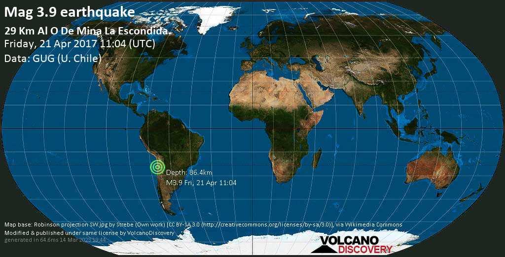 Minor mag. 3.9 earthquake  - 29 km al O de Mina La Escondida. on Friday, 21 April 2017