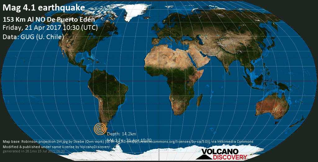 Light mag. 4.1 earthquake  - 153 km al NO de Puerto Edén on Friday, 21 April 2017