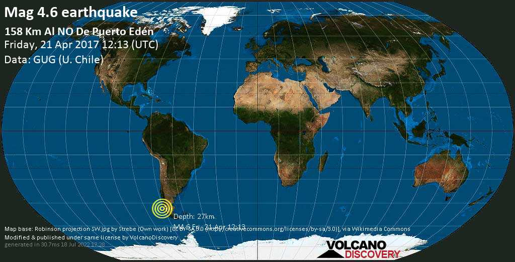 Light mag. 4.6 earthquake  - 158 km al NO de Puerto Edén on Friday, 21 April 2017