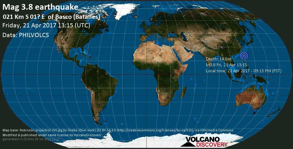 Minor mag. 3.8 earthquake  - 021  km S 01? E    of Basco (Batanes) on Friday, 21 April 2017