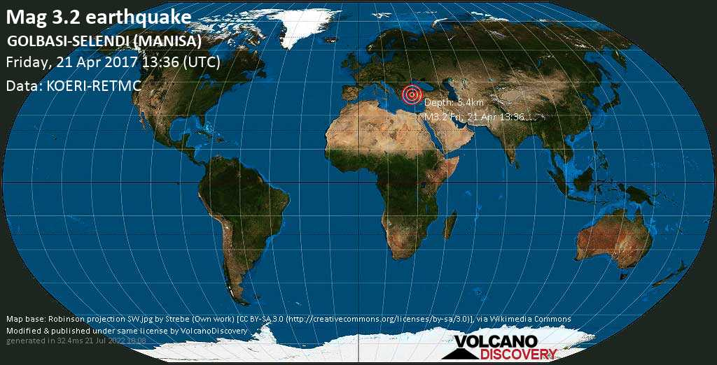 Minor mag. 3.2 earthquake  - GOLBASI-SELENDI (MANISA) on Friday, 21 April 2017