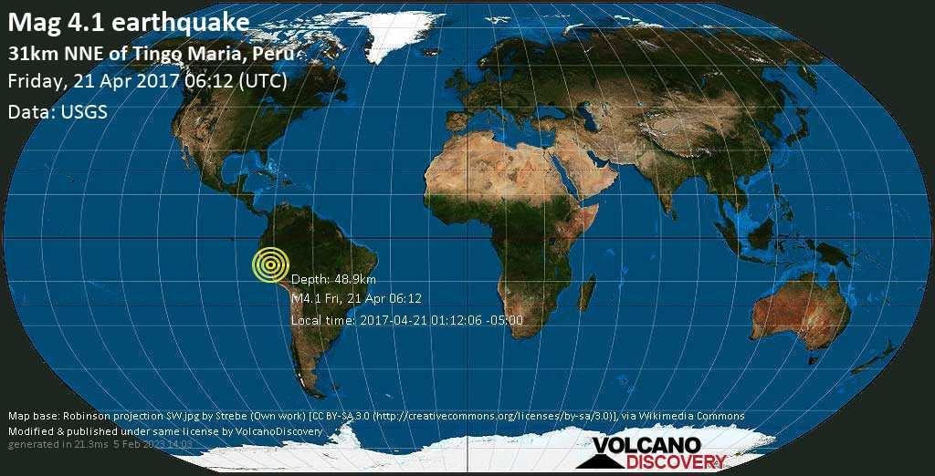 Light mag. 4.1 earthquake  - 31km NNE of Tingo Maria, Peru on Friday, 21 April 2017