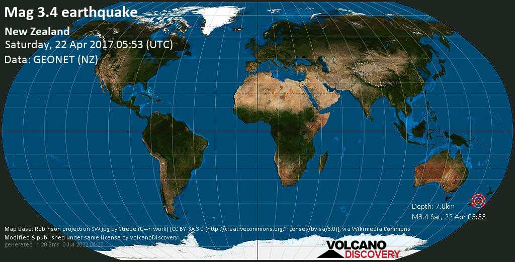 Minor mag. 3.4 earthquake  - New Zealand on Saturday, 22 April 2017