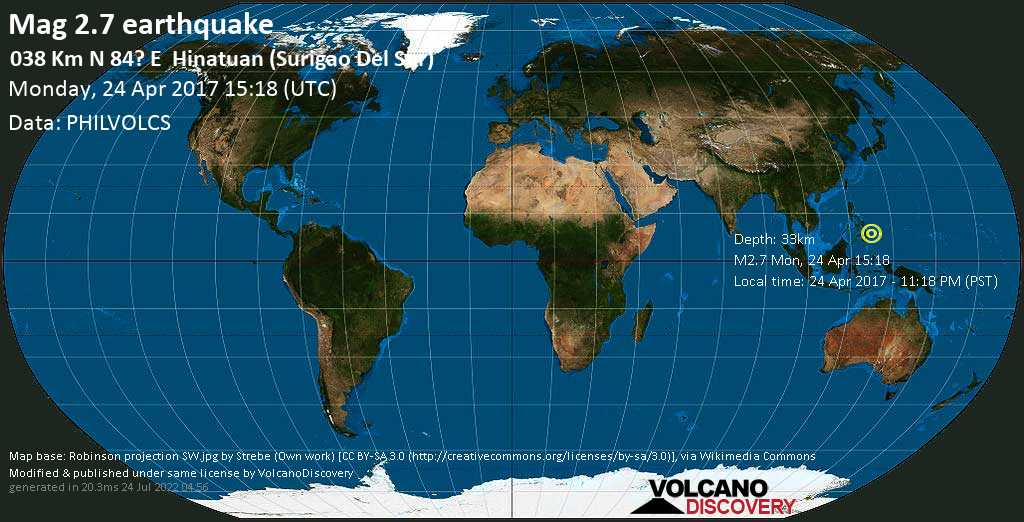 Minor mag. 2.7 earthquake  - 038 km N 84? E    Hinatuan (Surigao Del Sur) on Monday, 24 April 2017