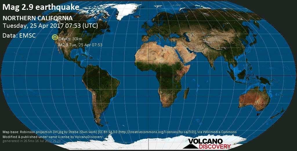 Minor mag. 2.9 earthquake  - NORTHERN CALIFORNIA on Tuesday, 25 April 2017