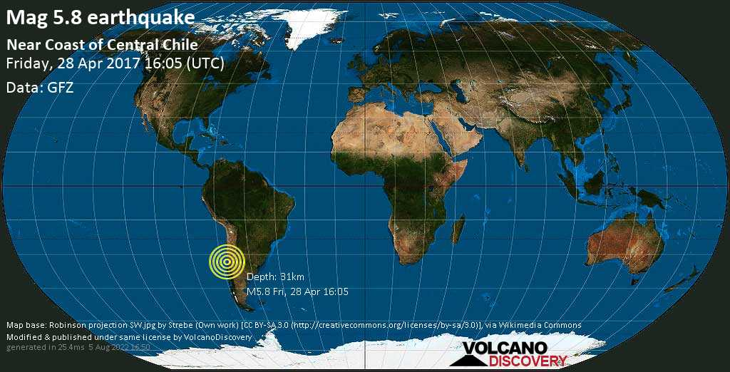 Moderate mag. 5.8 earthquake  - Near Coast of Central Chile on Friday, 28 April 2017