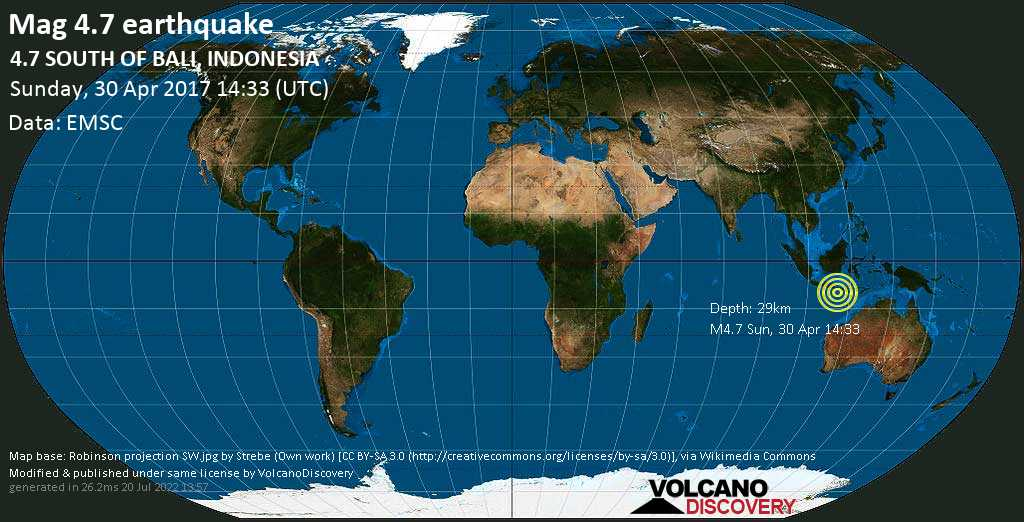 Light mag. 4.7 earthquake  - 4.7  SOUTH OF BALI, INDONESIA on Sunday, 30 April 2017
