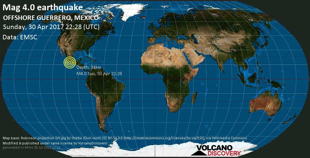 Light mag. 4.0 earthquake  - OFFSHORE GUERRERO, MEXICO on Sunday, 30 April 2017