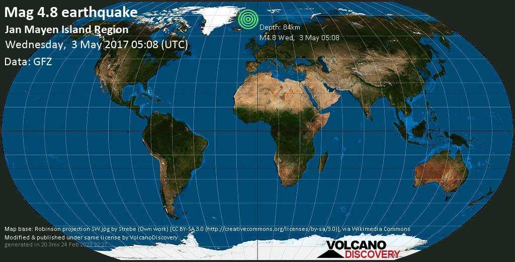 Light mag. 4.8 earthquake  - Jan Mayen Island Region on Wednesday, 3 May 2017
